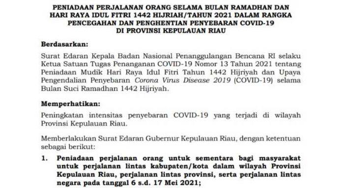 Surat Edaran Larangan Gubernur Kepri 2021