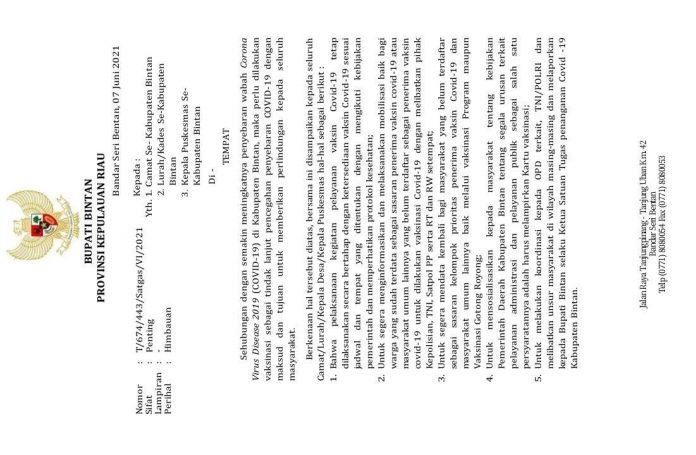 Surat Edaran Bupati Bintan terkait Kartu Vaksinasi