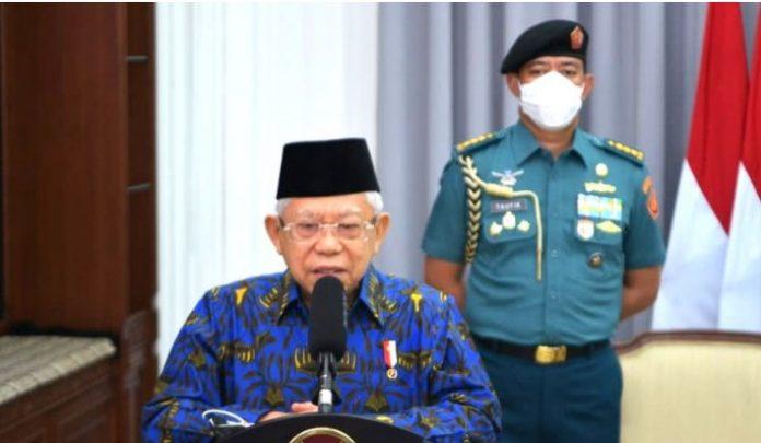 Wapres Ma'ruf Amin saat memberikan sambutan pada Peringatan Harganas Tahun 2021