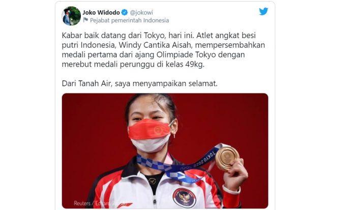 Jokowi ucapkan selamat ke Windy Cantika Aisah