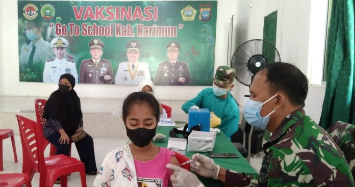 Capaian Target Vaksinasi Go to School Gurindam 12 Kodim 0317/TBK